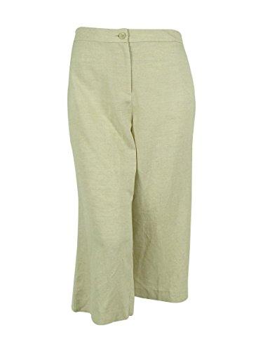 Alfani Womens Plus Linen Flat Front Capri Pants Beige 22W