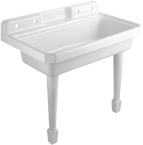 KOHLER K-6607-4-0 Harborview Self-Rimming or Wall-Mount Utility Sink, White by Kohler
