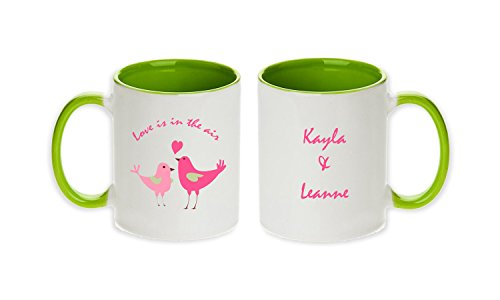Personalized Pair of Love Birds Love Is In The Air Lesbian Gift Pair Mugs(Set of 2 Pcs)