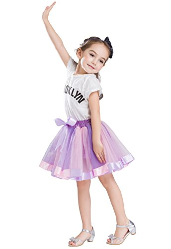 Buenos Ninos Girl's Lined Colorful Layered Ruffle Rainbow Tutu Tiered Ballet Dance Skirt Lavender with Pink -