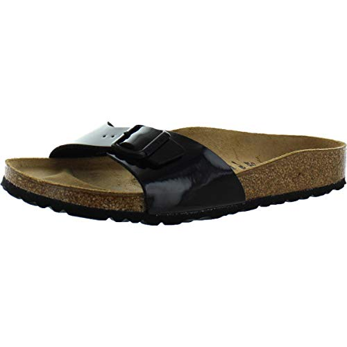 Birkenstock Women's Madrid Birko-Flor EVA Slide Sandals Black Patent Size 35