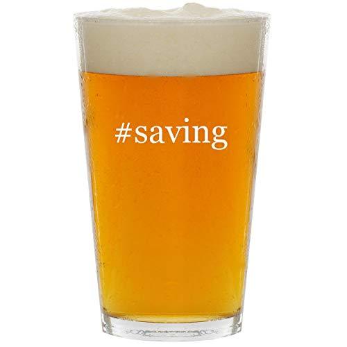 #saving - Glass Hashtag 16oz Beer Pint