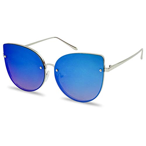 SunglassUP Oversized Rimless Cat Eye Sunglasses Flash Mirror Round Color Flat Lens Shades for Women (Silver Frame | Blue)