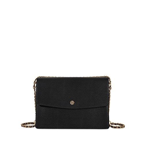 Tory Burch Large Parker Convertible Leather Shoulder Bag ~ Black (Chain Link Shoulder Black Bag Leather)
