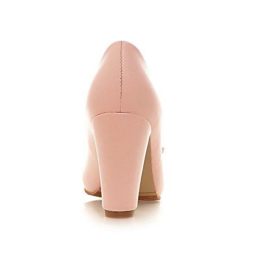 AllhqFashion Damen Gemischte Farbe PU Leder Rund Zehe Ziehen auf Pumps Schuhe Pink