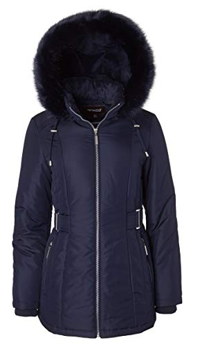 Women's Midlength Down Alternative Puffer Coat Fur Trim Plush Lined Detachable Hood - Stormy Night - Fur Coats Hood For Juniors Faux