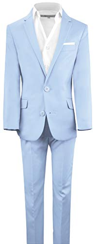 Black n Bianco Boys' First Class Slim Fit Suits Lightweight Style. Presented by Baby Muffin (8, Light Blue) -