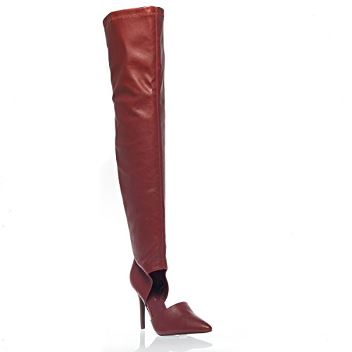 V-Lux (Red Leather Thigh High Boots)