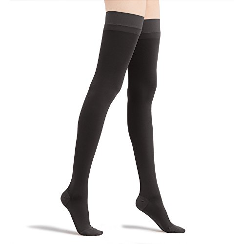 Fytto 2024 Women's Compression Thigh High, 15-20mmHg Microfiber Support Hosiery, Travel Stockings – Improve Circulation, Relieve Varicose Veins and Pains, Black, XLarge by Fytto