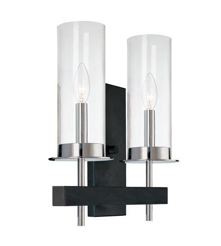 Sonneman 4062.54, Tuxedo Tall Glass Wall Sconce Lighting, 2 Light, Chrome/Black