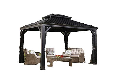 Sojag Messina Hard Top Sun Shelter, 12′ by 16′, Charcoal For Sale