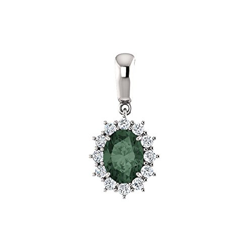 Bonyak Jewelry Lab-Created Alexandrite 14k White Gold Chatham Created Alexandrite & 1/3 CTW Diamond Pendant