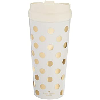 Kate Spade New York Women's Insulated Thermal Travel Mug Tumbler, 16 Ounces, Gold Dot