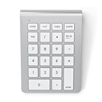 Satechi Aluminium Bluetooth Wireless Keypad Number Pad Keyboard for iMac Macbook Laptop Desktop PC Computer Compatible with Windows & OS X System (Silver)