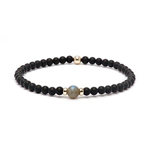 (Asortis Black Matt Onyx Gemstone Gold Filled 4mm Bead Bracelet (Labradorite))