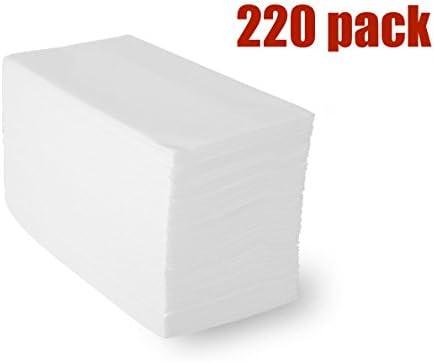 linen-feel toallas de invitados (220 unidades), blanco desechables papel mano servilletas de tela, 12
