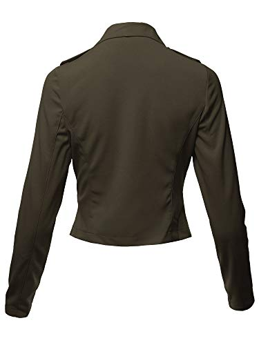 Awesome21 Solid Asymmetrical Zipper Closure Long Sleeve Thin Biker Style Jacket Olive L by Awesome21 (Image #2)