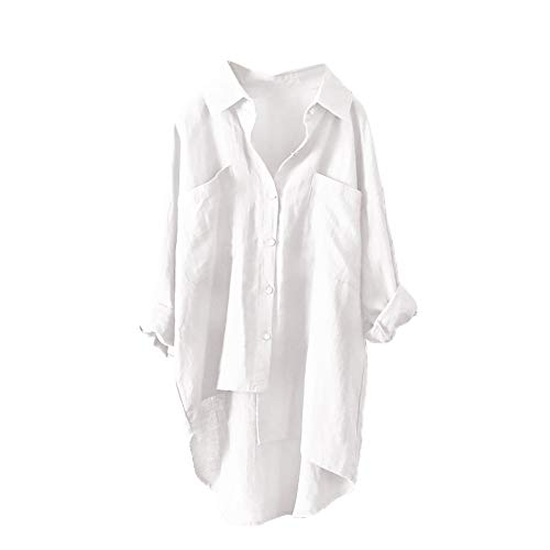 Women Plus Size Linen Shirt Solid Oversize High Low Hem Blouse Button Casual Top(White,XX-Large)
