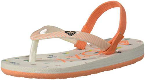 Roxy Kids' TW Pebbles VI Flip Flop Sandals, White Smooth, 10 M US Toddler
