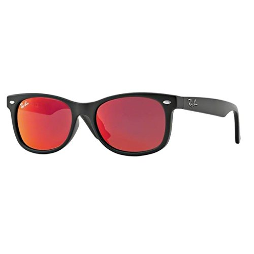 Ray-Ban Junior RJ9052S Square Sunglasses, Matte Black & Red Multilayer, 47 - Ray Kids Bans