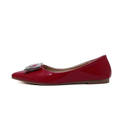 T-july Flats Shoes Per Donna Casual Vestito A Punta Balletto, Slip On Rosso