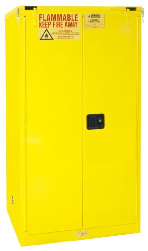 Durham FM Approved 1060S-50 Welded 16 Gauge Steel Flammable Safety Self Closing Door Cabinet, 2 Shelves, 60 gallons Capacity, 34