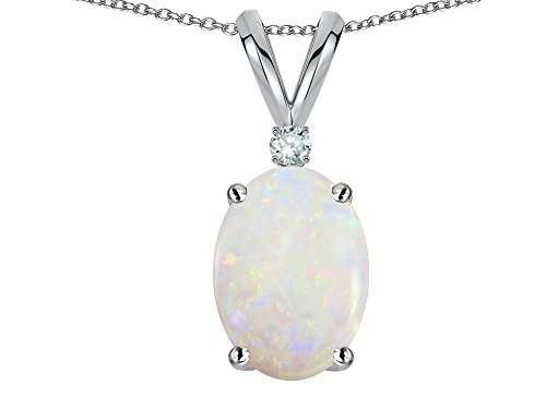 Star K Oval 7x5mm Genuine Opal Classic Rabbit Ears Pendant Necklace 10 kt White Gold
