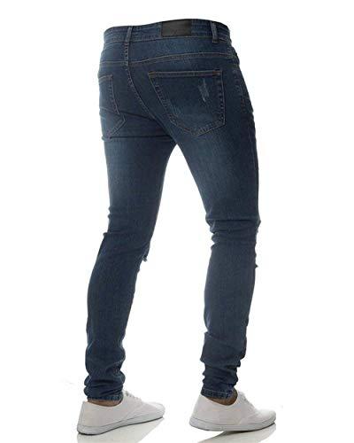 Leggeri Fori Dunkelblau Denim Elasticizzati Motociclista Pantaloni Uomo Fit Slim Abbigliamento Strappati Jeans Casual Da XqZYRx