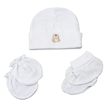 A La Mode Creation Cotton Baby Caps Mitten Booties Set For New Born  (White)  Amazon.in  Clothing   Accessories e8d5d95dbba