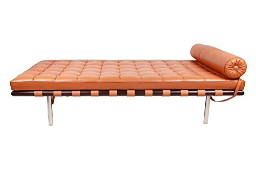 MLF Pavilion Modern Daybed / Mies Couch(Multi Colors Available), Top Grain Light Brown Premium Aniline Leather with 12cm Wide Dark Walnut Frame