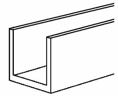 Boltmaster U Channel 1/16'' X 1/2'' X 25/64'' X 4' Mill For 1/4'' Material Bulk