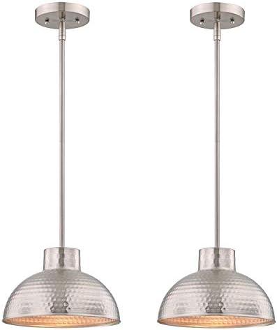 Westinghouse Lighting One-Light Indoor Pendant, Hammered Brushed Nickel Finish Brushed Nickel – 2 Pack