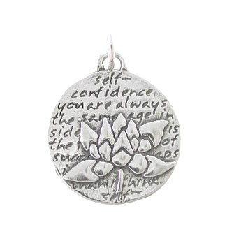 le Lotus Flower Pendant with Words of Inspiration in Sterling Silver, 8228 ()