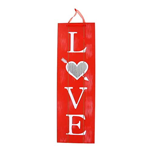 Valentine Vertical Love Words Wall Sign Red Wooden Plaque Wood Planks Home Front Door Hanging Signs for Boyfriend Girlfriend Wedding Party Teacher Wife and Husband Decor Indoor Special Day Hanger