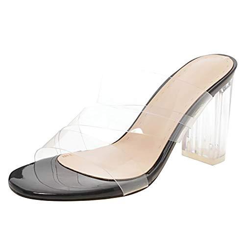 Sandales À Chaussures femmes Noir Transparent Aux Talons Razamaza Mules Talons Bloc acqHtnaxwU