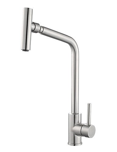 NWMTF 0.5 Deck Mounted Single Handle One Hole Solid Brass Stainless Steel Swivel Spout Kitchen Faucet K40CF22SS