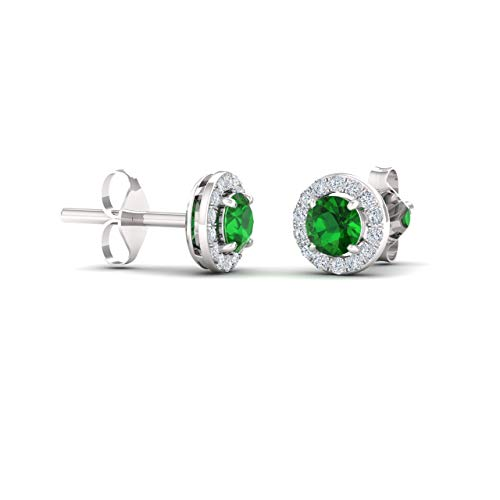 Diamondere Natural and Certified Emerald and Diamond Halo Petite Stud Earrings in 14K White Gold | 0.72 Carat Earrings for ()
