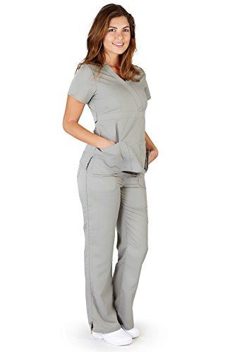 (Ultra Soft Brand Scrubs - Premium Womens Junior Fit 3 Pocket Mock Wrap Scrub Set, Grey 37908-Large )