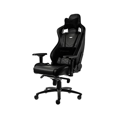 noblechairs Epic Gaming Chair - Office Chair - Desk Chair - PU Faux Leather - 265 lbs - 135° Reclinable - Lumbar Support Cushion - Racing Seat Design - Black