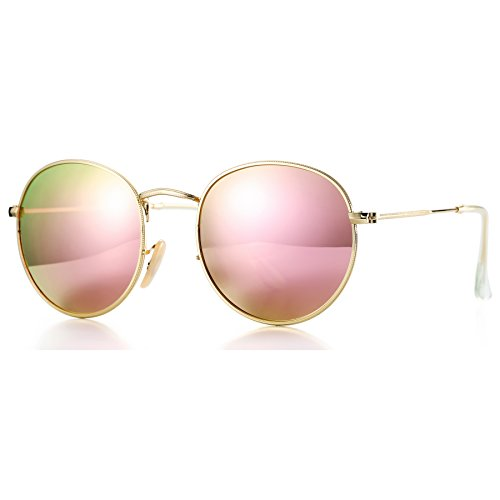 COASION Retro Metal Frame Round Polarized Sunglasses Men Women (Gold Frame/Pink Mirrored Lens, - Round Womens Sunglasses Large