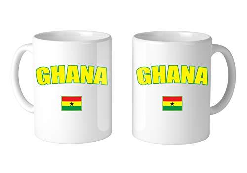Amdesco Flag of Ghana Ghanaian 11 Oz White Coffee Mug (2 Mugs)