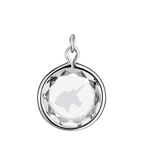 LovePendants Charm in White Swarovski Crystal with White Enameled UNICORN Engraving in Sterling-Silver ()