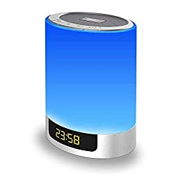 Alarm Clock with Touch Control LED Lamp Bedside Lamp Color Changing Wireless Speaker USB AUX MP3 Music Player for Kids,Party,Bedroom,Outdoor