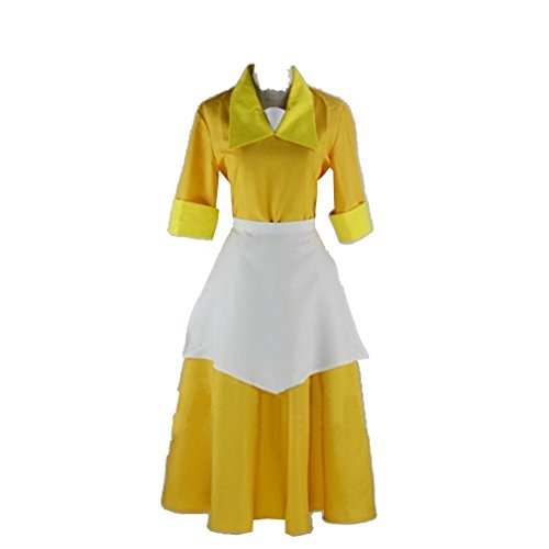 Cuterole Women Princess Tiana Costume Yellow Waitress Dress Halloween Uniform Custom