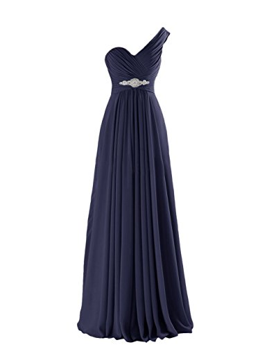 CaliaDress Women One Shoulder Bridesmaid Dress Prom Evening Gowns Long C198LF Navy Blue (Blue Prom Gowns)