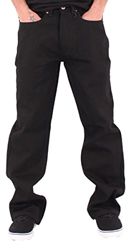 Rocawear Mens Boys Black Double R Star Loose Fit Jeans (W44 - L34, Black) ()
