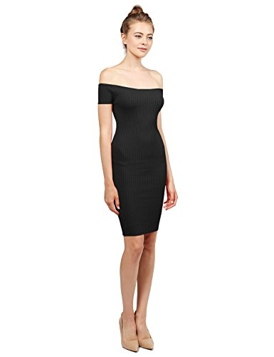 Solid Midweight Stretch Ribbed Off Shoulder Bodycon Midi Dress Black Size S