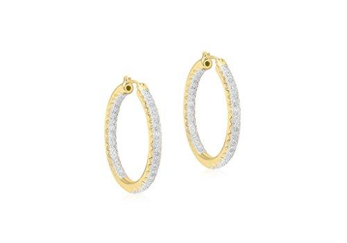 Boucles d'oreilles créoles or jaune 9carats-Diamant 0,50Cts-33mm