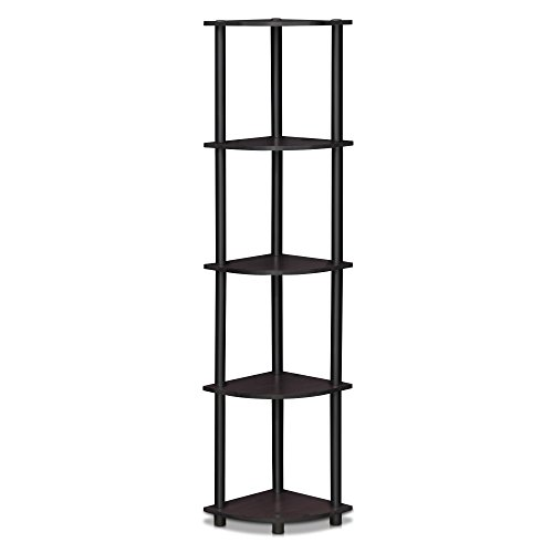 (Furinno 99811DWN Turn-N-Tube 5 Tier Corner Display Rack Multipurpose Shelving Unit, Dark Walnut)