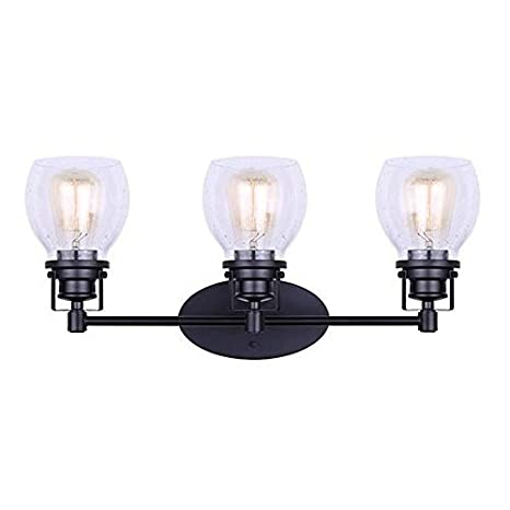 buy popular 9fd1a a4a70 Canarm 3 Lt Vanity Carson Wall Fixture with Seeded Glass and Matte Black  Finish